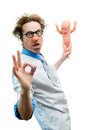 Crazy pediatrician holding a baby Royalty Free Stock Image