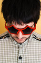 Crazy portrait. Star glasses Royalty Free Stock Image