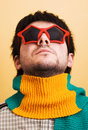 Crazy portrait. Star glasses and scarf Royalty Free Stock Photo