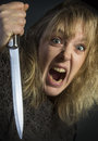 Crazy psychotic woman a young domestic violence Stock Photos
