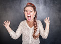 Crazy screaming woman Royalty Free Stock Photo