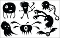 Crazy set of silhouettes of funny halloween monsters Royalty Free Stock Photo