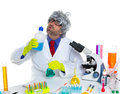 Crazy silly nerd scientist drinking chemical experiment Stock Image