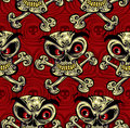Crazy skulls seamless pattern. Stock Photos