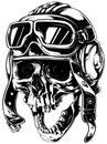 Crazy smiling old human skull in aviator helmet
