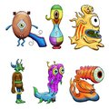 Crazy strange space alien or creature set of 6. Original colored illustrations Royalty Free Stock Photo