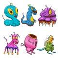 Crazy strange space alien or monster set of 6. Original colored illustrations Royalty Free Stock Photo