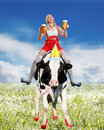 Crazy tiroler or oktoberfest woman with beer Royalty Free Stock Photo