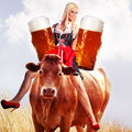 Crazy tiroler or oktoberfest woman Royalty Free Stock Photo