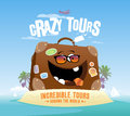 Crazy tours design with funny suitcase on a tropical island Royalty Free Stock Image