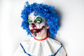 Crazy ugly grunge evil clown. Scary professional Halloween masks. Halloween party