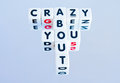 Crazy about you text inscribed on small white cubes in uppercase black letters crossword fashion on a light background Stock Photo
