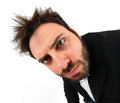 Crazy young businessman facial expression wow on white background Stock Photography