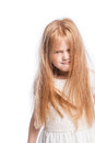Crazy Young Girl Hiding Behind Lots of Hair. Royalty Free Stock Images