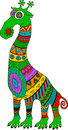 Crazy zoo. Polynesian and african style tattooed cartoon alien giraffe, illustration.