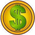Círculo do ouro dos ícones do sinal de dólar Imagem de Stock Royalty Free