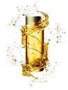Cream bottle mock up in water splash of golden color.