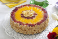 Cream cake with fruits Royalty Free Stock Photo