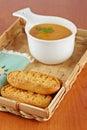 Cream of carrot soup Stock Photos