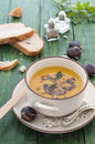 Cream of chestnut soup carrots and Royalty Free Stock Image