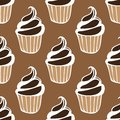 Cream choco cake brown dark seamless pattern Royalty Free Stock Photo
