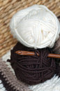 Cream chocolate yarn wool balls crochet hook handmade crochet jumper Royalty Free Stock Photography