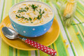 Cream corn soup blue bowl fresh cob corn side Royalty Free Stock Image