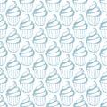 Cream cupcake seamless white blue pattern