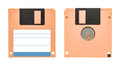 Cream floppy disk front and back of a isolated on white background Royalty Free Stock Image