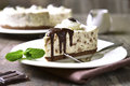 Cream mousse cake (no baked cheesecake) with bisquit crumbs. Royalty Free Stock Photo