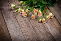 Cream pink roses on wooden background Royalty Free Stock Photo