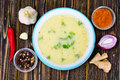 Cream Soup with Curry Sauce, Hot Pepper Red Royalty Free Stock Photo