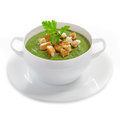 Cream soup with dried crusts Stock Image