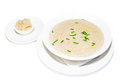 Cream soup greens and croutons restaurant menu Stock Photos