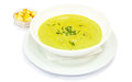 Cream soup with pea greens and croutons restaurant menu Stock Photo