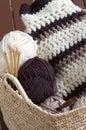 Knitting hobby basket Royalty Free Stock Photo