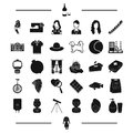 Cream, toy, appearance and other web icon in black style.clothes, equipment icons in set collection.