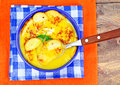 Cream of Zucchini, Carrots, Boiled Eggs, Saffron, Bread Bruschet Royalty Free Stock Photo