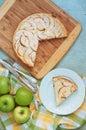 Creamy apple pie on a light green wood background Stock Photos
