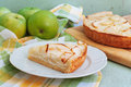 Creamy apple pie on a light green wood background Royalty Free Stock Photos