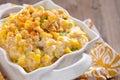Creamy corn fresh crock pot on a table Stock Photo