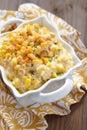 Creamy corn fresh crock pot on a table Royalty Free Stock Photos