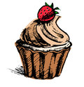 Creamy cup cake with delicious berry hand drawing sketch vector icon Royalty Free Stock Image