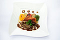 Creamy dory dish on white plate Royalty Free Stock Photo