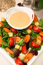 Creamy Garlic French Dressing and Salad Royalty Free Stock Images