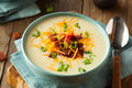 Creamy loaded baked potato soup with bacon and cheese Royalty Free Stock Photos
