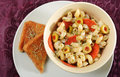 Creamy pasta salad with olives and pepperoni Stock Photos
