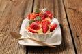 Creamy pudding and fresh fruit Stock Photo