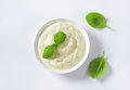 Creamy salad dressing made of mayonnaise buttermilk garlic herbs spices and grated cheese Royalty Free Stock Photos