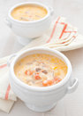 Creamy soup with vegetables ad fish Stock Photography